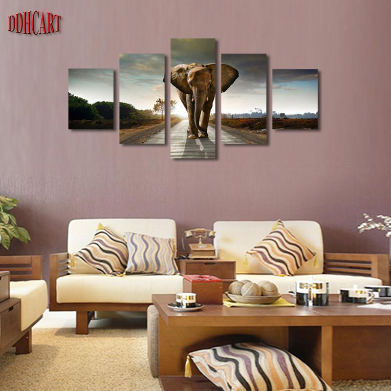 Home Wall Art 5 piece elephant painting canvas wall art picture home decoration