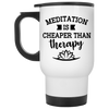 Image of Meditation Is Cheaper Than Therapy Mugs & Drinkware - Lyghtt