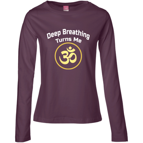 Deep Breathing Turns Me Om Gold Apparel LADIES - Lyghtt