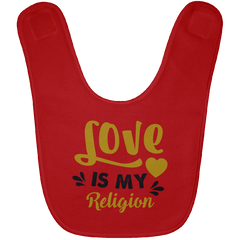 Love Is My Religion Gold & Gray Babies Bib & Onesie