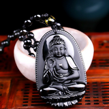 Carved Black Obsidian Pendant Necklace - Lyghtt