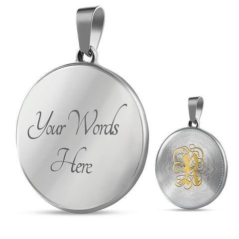 Round Pendant Necklace with Gold R Initial, Personalized Monogram & Name