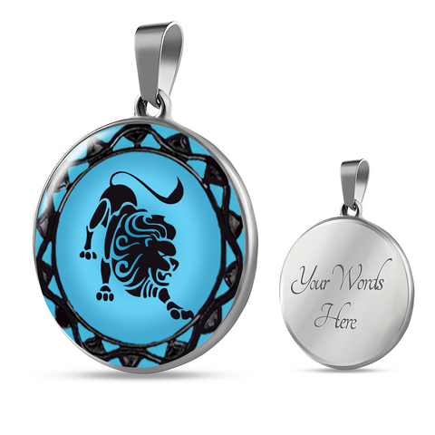 Leo Blue Zodiac Sign Pendant Charm Necklace - Lyghtt