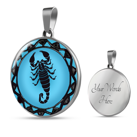 Scorpio Blue Zodiac Sign Pendant Necklace - Lyghtt
