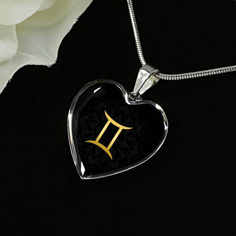 Gold on Black Gemini Zodiac Astrology  Heart Pendant Necklace - Lyghtt