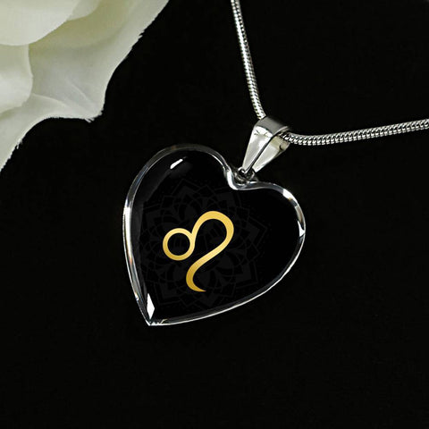 Gold on Black Leo Zodiac Astrology  Heart Pendant Necklace - Lyghtt
