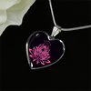 Image of Pink Lotus Flower Heart Pendant Necklace - Lyghtt