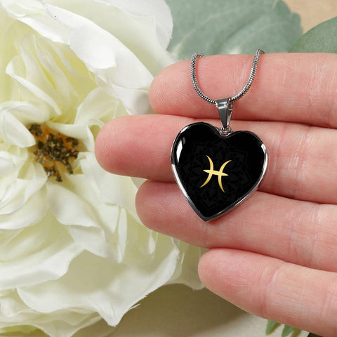 Gold on Black Pisces Zodiac Astrology  Heart Pendant Necklace - Lyghtt