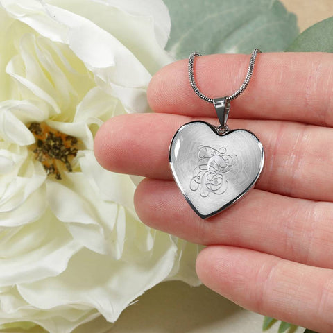 Heart Pendant Necklace with Silver Initial, Personalized, Monogram & Name E