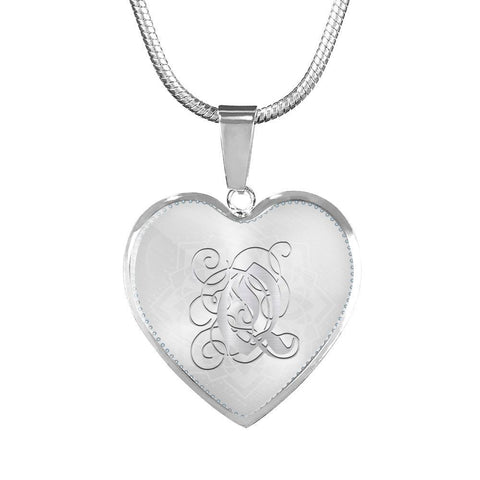 Heart Pendant Necklace with Silver Q Initial, Personalized, Monogram & Name