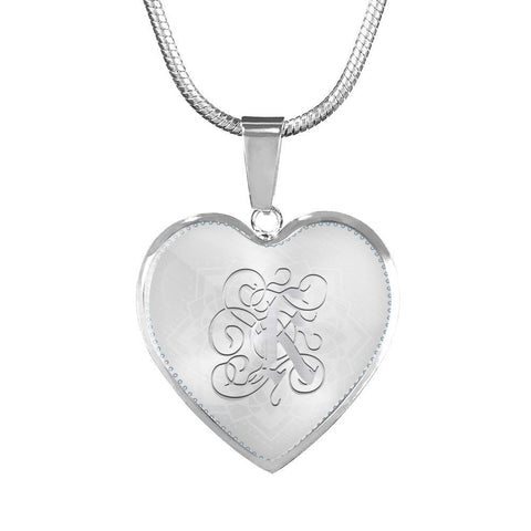 Heart Pendant Necklace with Silver Initial, Personalized, Monogram & Name K