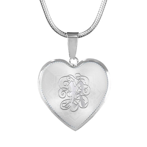 Heart Pendant Necklace with Silver Initial, Personalized, Monogram & Name R
