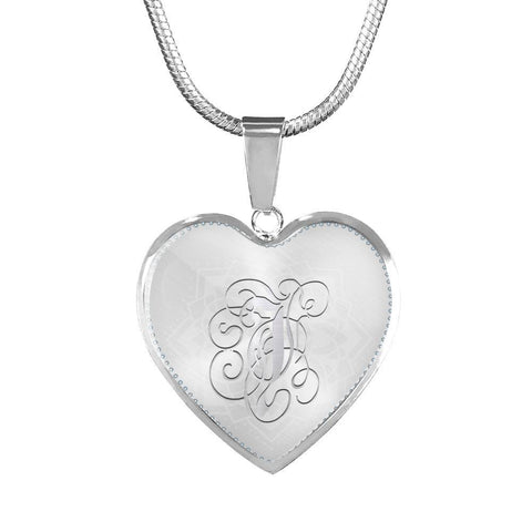 Heart Pendant Necklace with Silver Initial, Personalized, Monogram & Name J