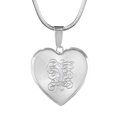 Heart Pendant Necklace with Silver Y Initial, Personalized, Monogram & Name