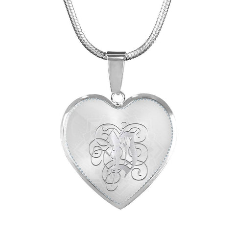 Heart Pendant Necklace with Silver P Initial, Personalized, Monogram & Name