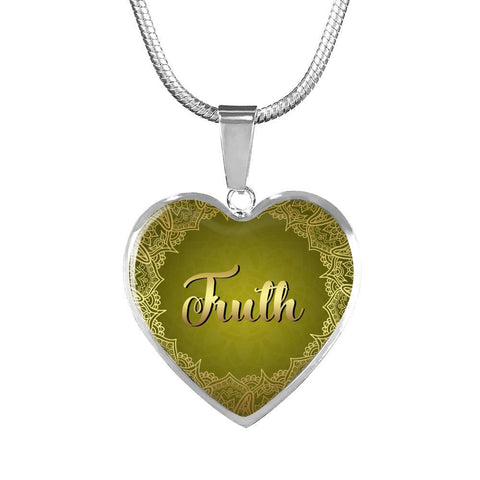 truth heart words of affirmation charm necklace, omfinite