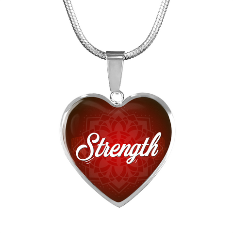 strength heart style words of affirmation silver charm necklace, omfinite
