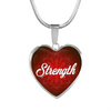 Image of strength heart style words of affirmation silver charm necklace, omfinite