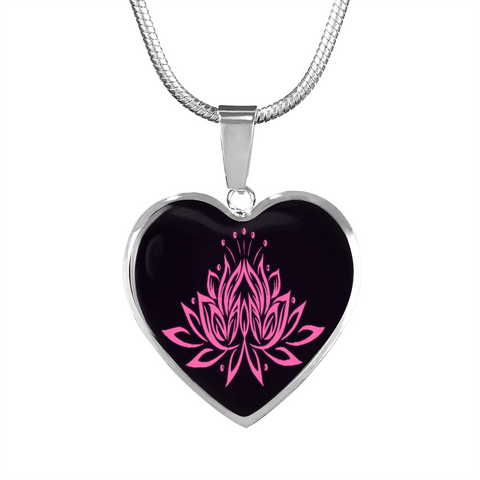 Pink Lotus Flower Heart Pendant Necklace -omfinite gift idea