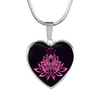 Image of Pink Lotus Flower Heart Pendant Necklace -omfinite gift idea