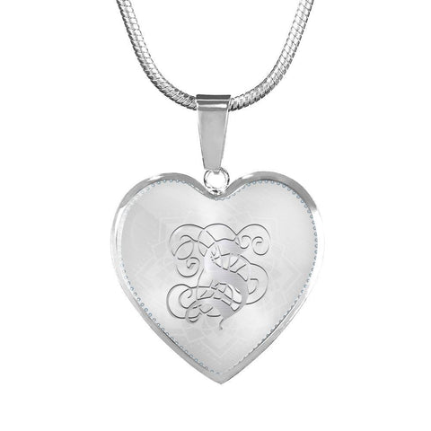 Heart Pendant Necklace with Silver S Initial, Personalized, Monogram & Name
