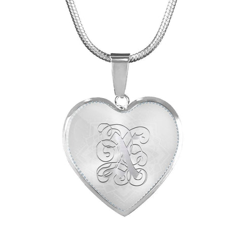 Heart Pendant Necklace with Silver X Initial, Personalized, Monogram & Name - Lyghtt