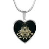 Image of Golden Lotus Flower Heart Pendant Necklace - Lyghtt