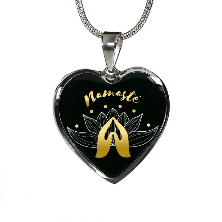 Namaste with Praying Hand Heart Pendant Necklace - Lyghtt