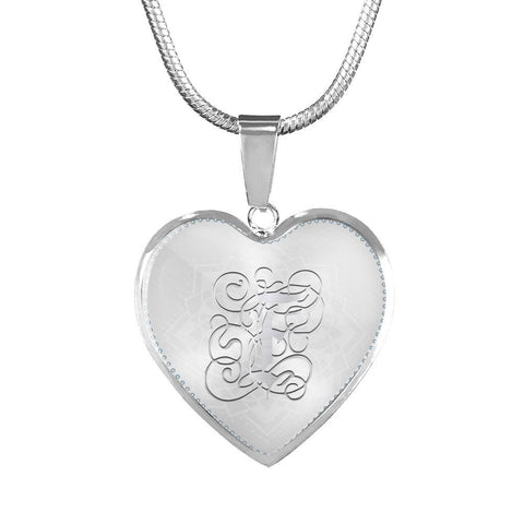 Heart Pendant Necklace with Silver Initial, Personalized, Monogram & Name F