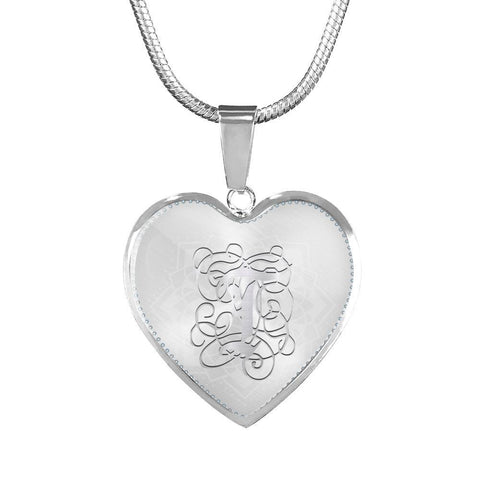 Heart Pendant Necklace with Silver T Initial, Personalized, Monogram & Name