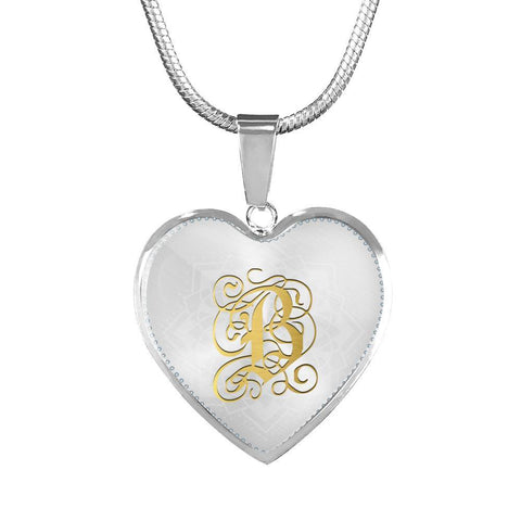 Heart Pendant Necklace with Gold B Initial, Personalized Monogram & Name - Lyghtt