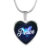 Image of Peace Heart Style Gold Charm Necklace - omfinite