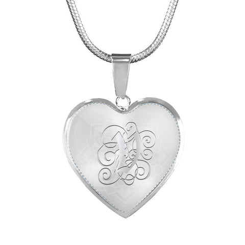 Heart Pendant Necklace with Silver V Initial, Personalized, Monogram & Name