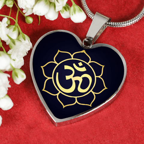 Golden Om Lotus Flower Heart Pendant Necklace - Lyghtt