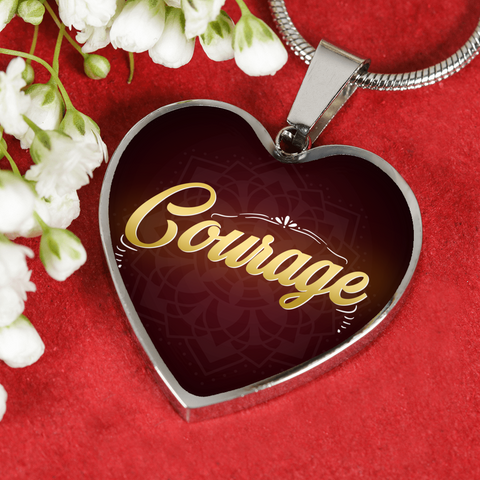 Courage Heart Style Gold Charm Necklace - Lyghtt
