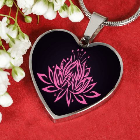 Pink Lotus Flower Heart Pendant Necklace - Lyghtt