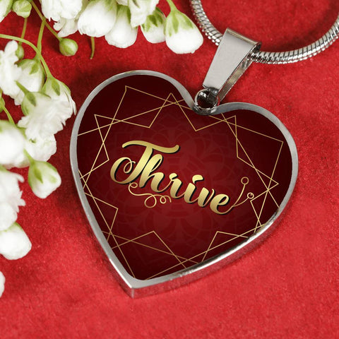 thrive heart style silver charm necklace, omfinite