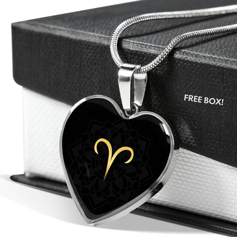 Gold on Black Aries Zodiac Astrology  Heart Pendant Necklace - Lyghtt