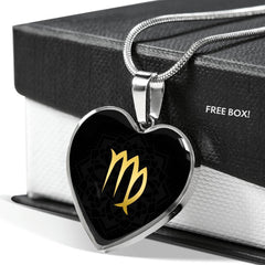 Gold on Black Virgo Zodiac Astrology  Heart Pendant Necklace