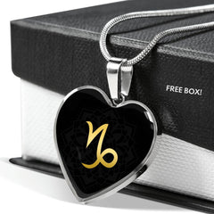 Gold on Black Capricorn Zodiac Astrology  Heart Pendant Necklace