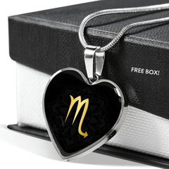 Gold on Black Scorpio Zodiac Astrology  Heart Pendant Necklace