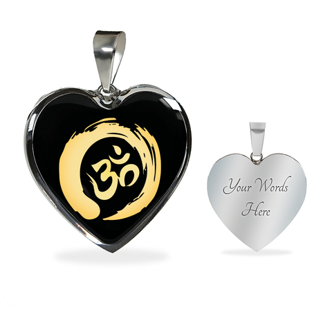 Golden Simple Om Symbol Heart Pendant Necklace - Lyghtt