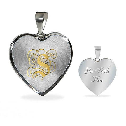 Heart Pendant Necklace with Gold S Initial, Personalized Monogram & Name - Lyghtt
