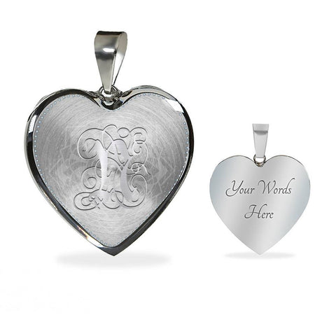 Heart Pendant Necklace with Silver Initial, Personalized, Monogram & Name N