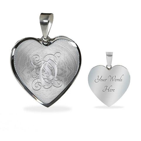 Heart Pendant Necklace with Silver Initial, Personalized, Monogram & Name Q
