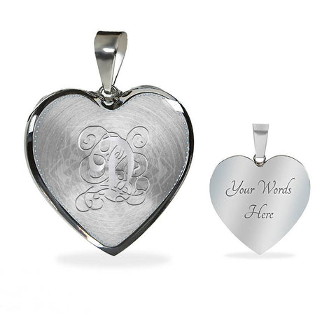 Heart Pendant Necklace with Silver Initial, Personalized, Monogram & Name D