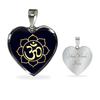 Image of Golden Om Lotus Flower Heart Pendant Necklace - Lyghtt