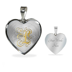 Heart Pendant Necklace with Gold L Initial, Personalized Monogram & Name