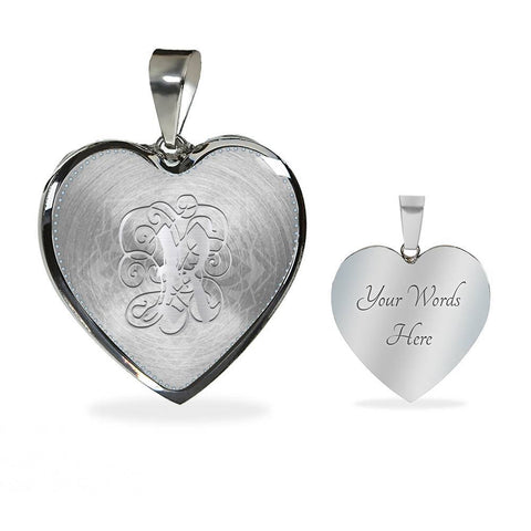 Heart Pendant Necklace with Silver R Initial, Personalized, Monogram & Name