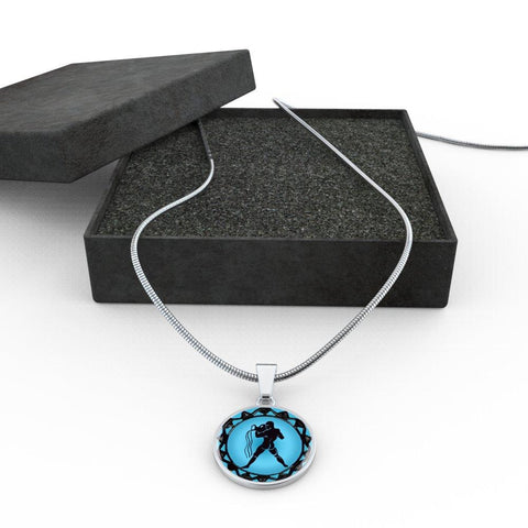 Aquarius Blue Zodiac Sign Pendant Necklace - Lyghtt